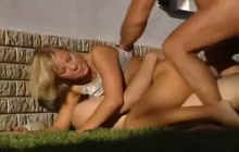 Blondie stripped and fucked hard outside
