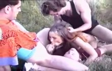Outdoor gangbang with Inna