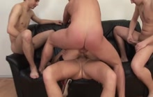 Dirty hooker DPed in a gangbang